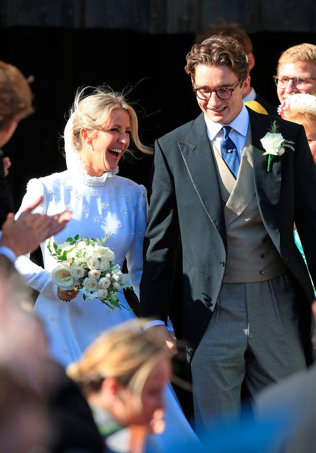 Newly married Ellie Goulding and Caspar Jopling leave York Minster after their wedding Photo credit: Peter Byrne/PA Wire