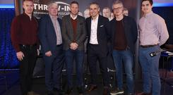 Will Slattery, Martin Breheny, Tomás Ó Sé, Alan Brogan, Joe Brolly and Michael Verney in Croke Park for the The Throw In, brought to you in association with Bord Gais Energy. Pic: Damien Eagers/INM