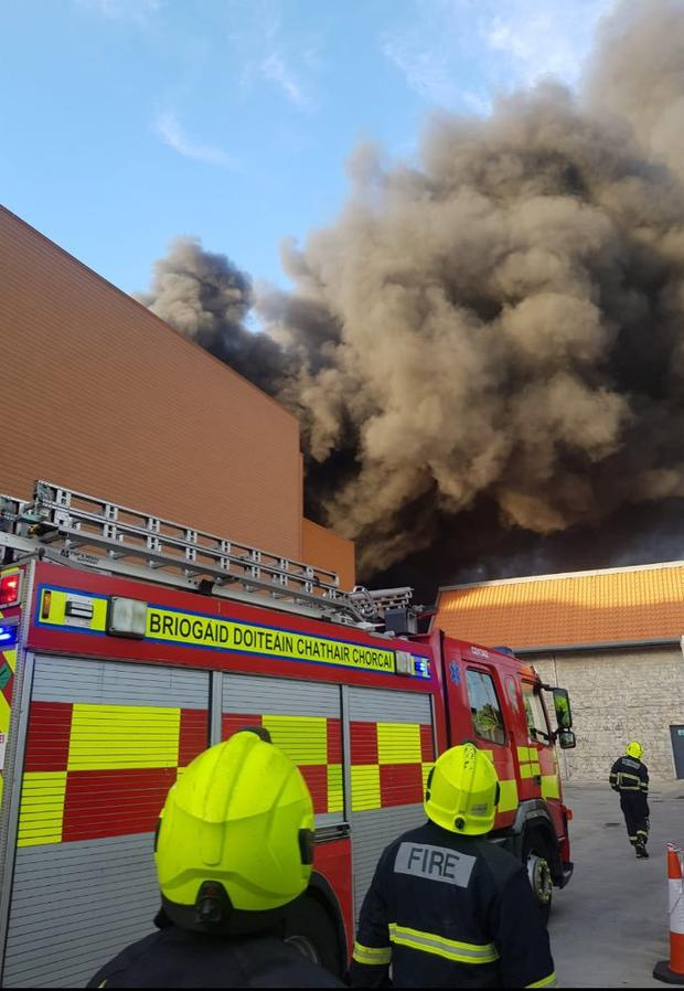 Emergency services are at the scene of the fire Photo: Cork Fire Brigade/Twitter