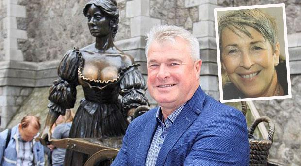 Charlie Redmond at the Molly Malone statue this week and (inset) his wife Grainne, pictured a month before she passed away