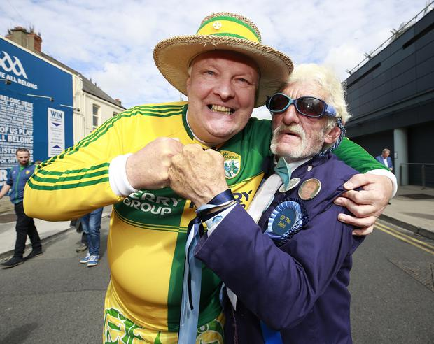 Dublin supporter Gerry Gowran squares up to Kerry supporter Gerard Murphy pictured before the All Ireland Football Final between Dublin and Kerry Picture credit; Damien Eagers / INM