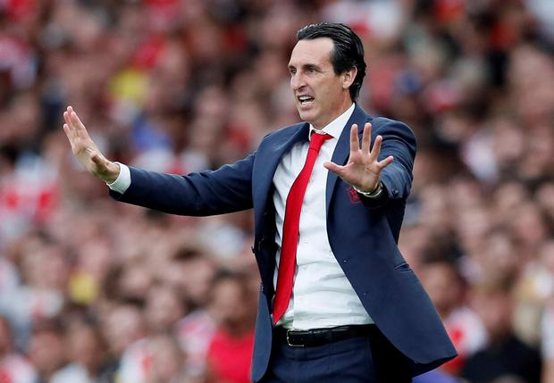 Arsenal manager Unai Emery gestures during the Premier League draw with Tottenham Hotspur at the Emirates Stadium, London.