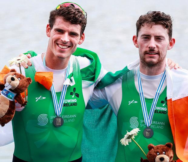 Philip Doyle and Ronan Byrne achieve silver, in Ireland's best-ever world event. Photo: Andreas Pranter/Gepa Pictures/Sportsfile
