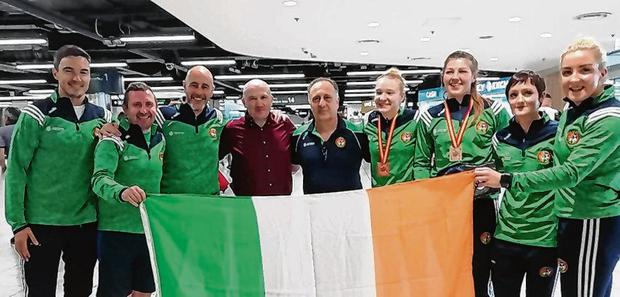 Aoife O'Rourke and Amy Broadhurst and their Irish team-mates arrive home from the Euro Elites