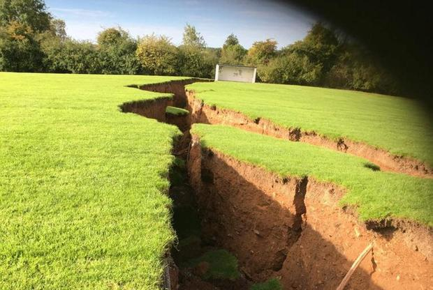 Broken field: Land sinks at Magheracloone GAA Club, Carrickmacross, Co Monaghan. Photo: BorderRegionTV