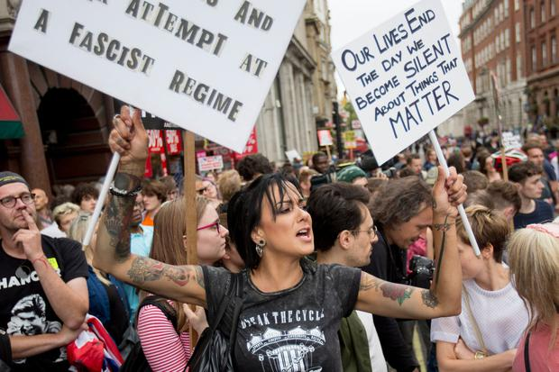 Voices heard: Protesters taking part in the 'Let Us Vote' day of action in London. Photo: Rick Findler/PA Wire