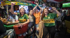 Kerry fans Katelyn Cashman, Subrina Locknane, Donna Quirk and Isabel Baily in The Huddle bar in Tralee. Photo: Domnick Walsh