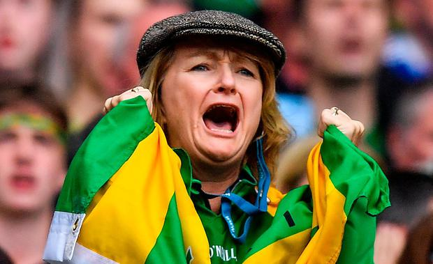 Agony and ecstasy: Kerry and Dubs fans feel the stress in the final moments at Croke Park. Photo: Brendan Moran/Sportsfile