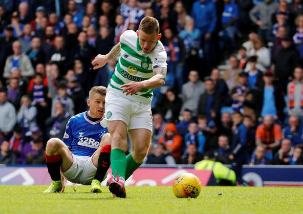 Celtic's Jonny Hayes scores their second goal. Photo: Russell Cheyne/Reuters