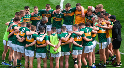 =Kerry manager Peter Keane speaks to his players