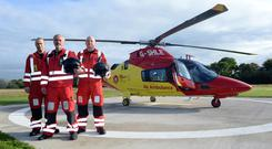 Captain John Murray, centre with crew Paul Traynor and Brian O'Callaghan pictured with the Charity Air Ambulance at Rathcoole Aerodrome in North County Cork. Photo: Don MacMonagle