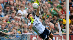 Stephen Cluxton of Dublin saves Paul Geaney's penalty