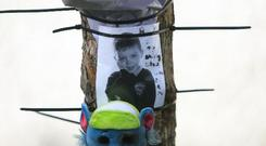 Tributes at the scene where a boy died after being struck by a vehicle at St Josephs Way, Ballymun Photo: Gareth Chaney/Collins