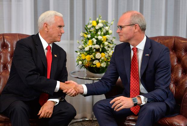 Mr Pence had a meeting with Foreign Affairs Minister Simon Coveney at Shannon. Photo: Jacob King/PA Wire