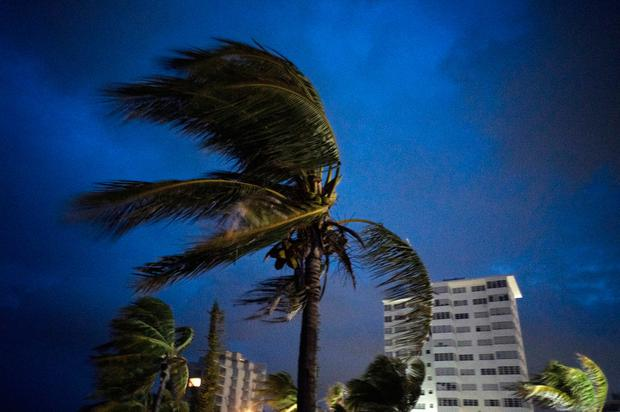 Blowing up a storm: Freeport in Grand Bahama begins to be buffeted as Hurricane Dorian makes landfall. Photo: AP
