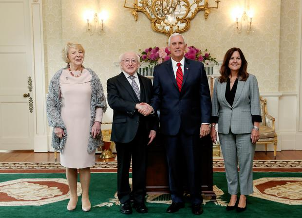 Sabina Higgins, President Micheal D Higgins, Vice President Mike Pence and Second Lady Karen Pence at Áras an Uachtaráin PIC: MAXWELLPHOTOGRAPHY.IE
