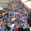 4 August 2001; Dublin supporters arrive at Thurles train station on their way to the game. Kerry v Dublin, Bank of Ireland All-Ireland Football Championship Quarter Final, Semple Stadium, Thurles, Co. Tipperary. Picture credit; Damien Eagers / SPORTSFILE