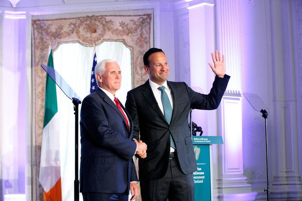 03/09/2019 NO REPRO FEE, MAXWELLS DUBLIN Visit by US Vice-President Pence Pic shows Vice President Mike Pence and Leo Varadkar at Farmleigh House, Phoenix Park. PIC: NO FEE, MAXWELLPHOTOGRAPHY.IE