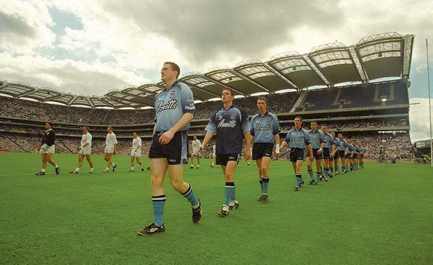 14 July 2002; Dublin's captain Coman Goggins leads his side in the pre-match parade. Dublin v Kildare, Leinster Senior Football Championship Final, Croke Park, Dublin. Picture credit; Damien Eagers / SPORTSFILE