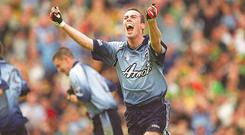 23 June 2002; Dublin's Ray Cosgrove celebrates after scoring a goal for his side. Dublin v Meath, Bank of Ireland Leinster Football Championship Semi-Final, Croke Park, Dublin. Picture credit; Ray McManus / SPORTSFILE