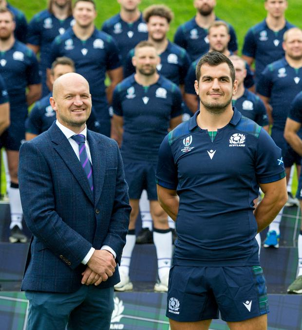 Finn Russell Scotland Coach, Gregor Townsend and team captain Stuart McInally pictured with the Scotland team after the squad announcement at Linlithgow Palace.