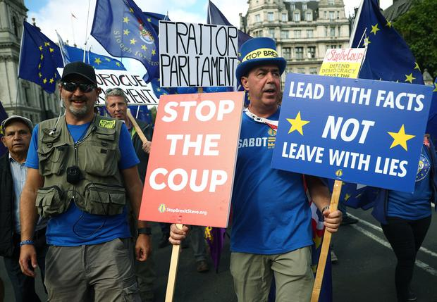 Anti-Brexit protester Steve Bray walks during a demonstration at Westminster, in London, Britain September 3, 2019. REUTERS/Hannah McKay