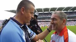 13 August 2005; Paul Caffrey, Dublin manager, with Tyrone manager, Mickey Harte, at the end of the match. Bank of Ireland All-Ireland Senior Football Championship Quarter-Final, Dublin v Tyrone, Croke Park, Dublin. Picture credit; Damien Eagers / SPORTSFILE