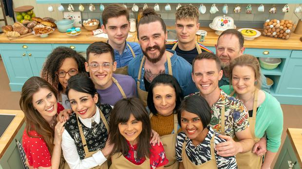 The Great British Bake Off cast 2019 (rear left to right) Steph, Henry, Priya, Helena, Alice, Phil, and Rosie, (front left to right) Amelia, David, Michelle, Michael, Dan and Jamie. (C4/Love Productions/Mark Bourdillon)