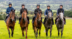 Champion jockeys Ruby Walsh, AP McCoy, Paul Carberry, Charlie Swan and Joseph O'Brien are pictured ahead of riding in the Pat Smullen Champions Race for Cancer Trials Ireland at the Curragh on Sunday week. Photo: INPHO/Morgan Treacy