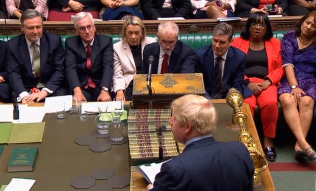 Prime Minister Boris Johnson speaking in the House of Commons, London after MPs voted in favour of allowing a cross-party alliance to take control of the Commons agenda on Wednesday in a bid to block a no-deal Brexit on October 31. PA Wire