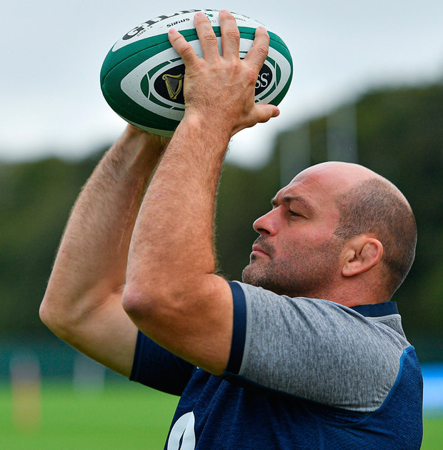 Rory Best goes through a lineout drill at Carton House yesterday ahead of Ireland's final World Cup warm-up game. Photo: Brendan Moran/Sportsfile