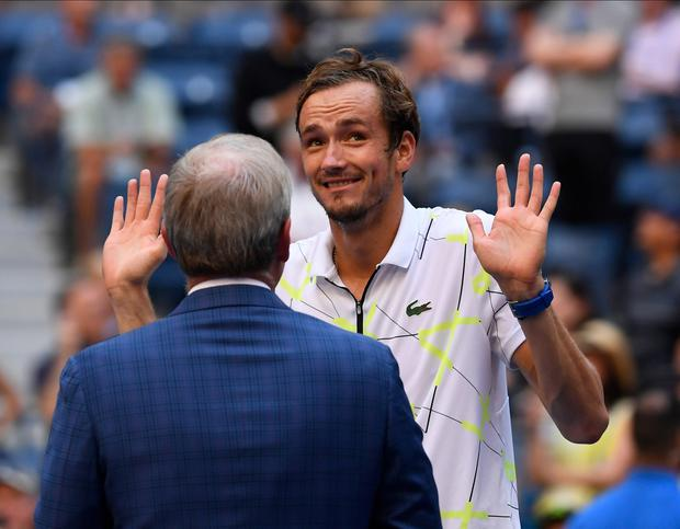 Holding his hands up: Daniil Medvedev gestures to the crowd during an on-court interview after beating Stan Wawrinka in the US Open quarter-final. Photo: Robert Deutsch-USA TODAY Sports