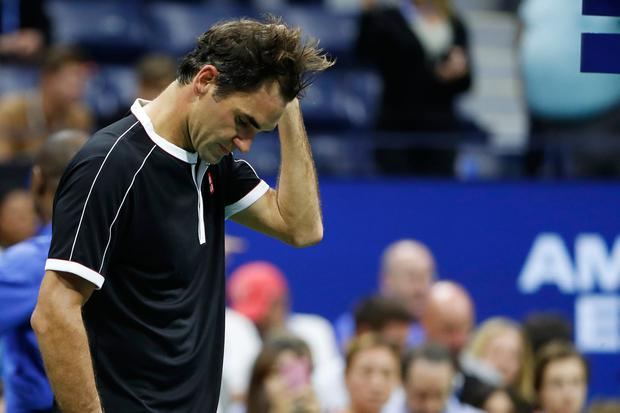 Sep 3, 2019; Flushing, NY, USA; Roger Federer of Switzerland prepares to leave the court after his match against Grigor Dimitrov of Bulgaria (not pictured) in a quarterfinal match on day nine of the 2019 US Open tennis tournament at USTA Billie Jean King National Tennis Center. Mandatory Credit: Geoff Burke-USA TODAY Sports