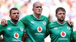Devin Toner (centre) was a controversial omission from Ireland's World Cup squad. Photo by Brendan Moran/Sportsfile