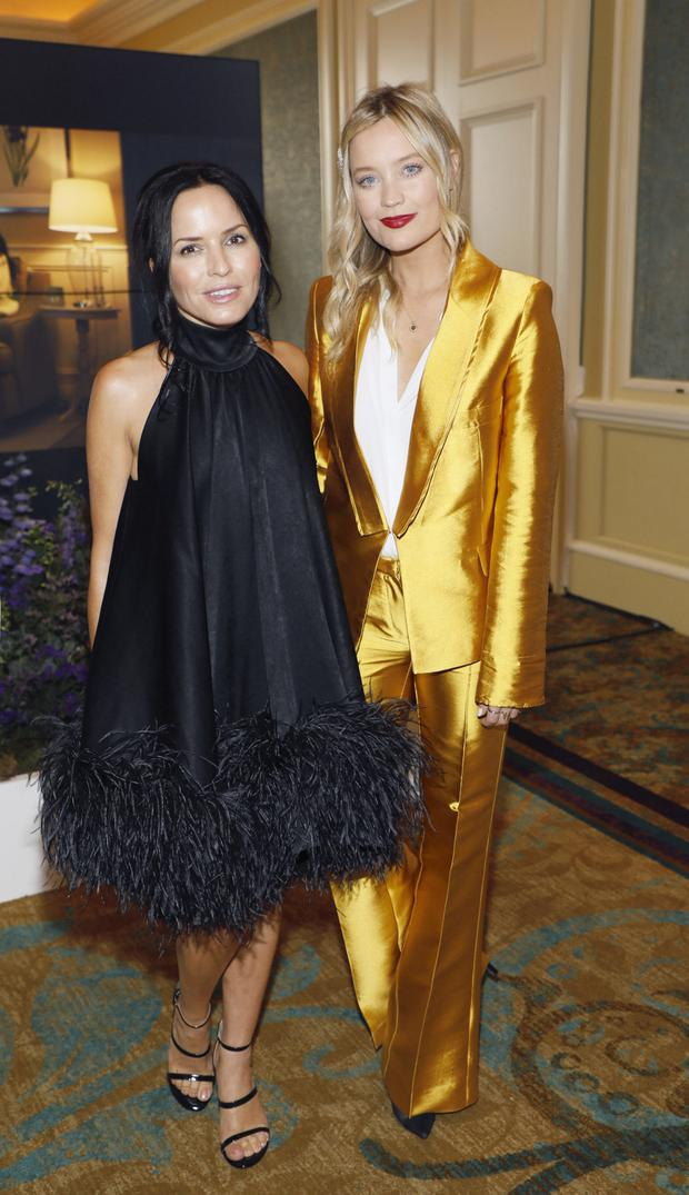 Andrea Corr and Laura Whitmore at the annual ISPCC Brown Thomas Fashion Show and Luncheon. Photo: Kieran Harnett