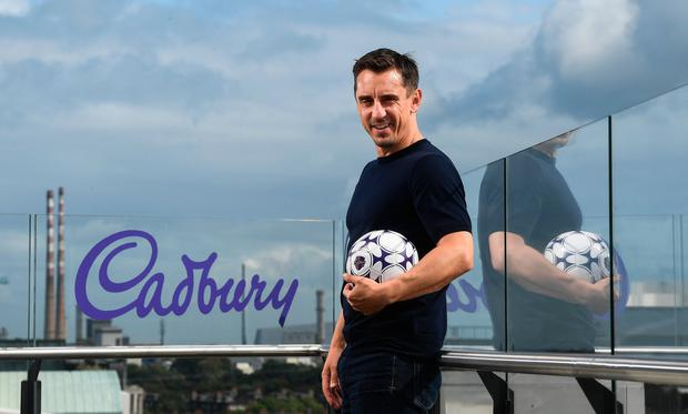 Pictured is Gary Neville during the Cadbury launch third year as sponsor of Premier League at The Marker Hotel in Dublin. Photo by David Fitzgerald/Sportsfile