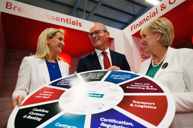 Ministers Simon Coveney, Heather Humphreys and Helen McEntee launch the 'Getting Your Business Brexit Ready – Practical Steps' campaign at the RDS in Dublin. Photo: Brian Lawless/PA Wire