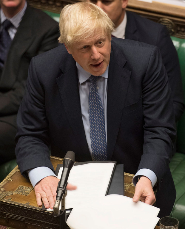 British prime minister Boris Johnson at the dispatch box in the House of Commons chamber during the debate and votes on the EU withdrawal and a general election. Photo: UK Parliament/Jessica Taylor/PA Wire