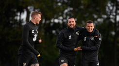 Happy campers: James McClean, Shane Duffy and Seamus Coleman share a joke while training at Abbotstown. Photo: Stephen McCarthy/Sportsfile