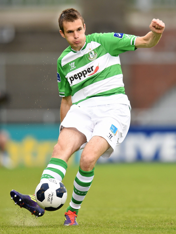 Maxime Vuille in action for Shamrock Rovers in a 2014 friendly against QPR. Photo: Stephen McCarthy / SPORTSFILE