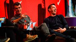 Roy Keane and Gary Neville on stage at the Bord Gais Energy Theatre during the Off the Ball roadshow