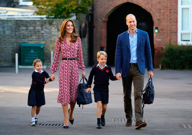 Princess Charlotte, with by her father, the Duke of Cambridge, and mother, the Duchess of Cambridge and Prince George, arriving for her first day of school at Thomas's Battersea.