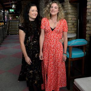 Jen O'Dwyer, left, from Monkstown, and Mary Toal, from Dalkey, at the launch of author Sophie White's book 'Filter This'. Krystle, Harcourt Street, Dublin. Picture: Caroline Quinn