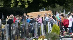 The remains arrive at the cemetery pictured this morning at the funeral of Keith Branigan, who was shot dead in Clogherhead last week Picture Colin Keegan, Collins Dublin