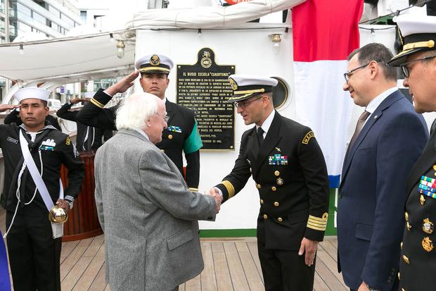 Visiting the Mexican Navy's tall ship, the Cuauhtémoc, was President of Ireland, Michael D. Higgins accompanied by his wife Sabina Higgins, on the first day of the ship's five-day visit to Dublin Picture by Shane O'Neill, SON Photographic.