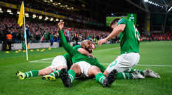 David McGoldrick of Republic of Ireland celebrates with team-mates after scoring his side's first goal during the UEFA EURO2020 Qualifier Group D match between Republic of Ireland and Switzerland at Aviva Stadium, Dublin. Photo by Eóin Noonan/Sportsfile
