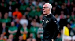 Ireland's manager Mick McCarthy shouts on the touchline during the Euro 2020 qualifying draw with Switzerland
