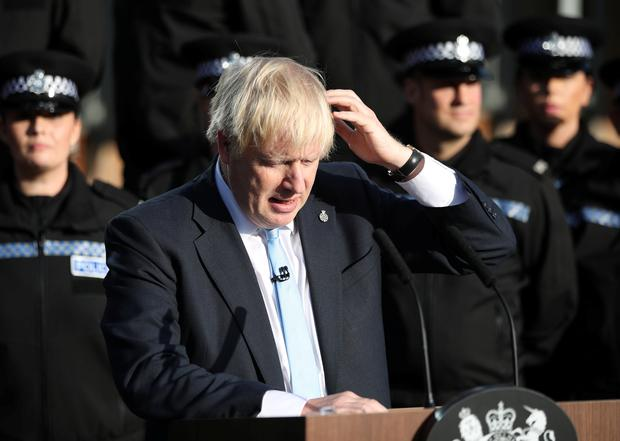 Rambling: Boris Johnson appeared dazed and uncertain during his speech in Yorkshire. Photo: PA