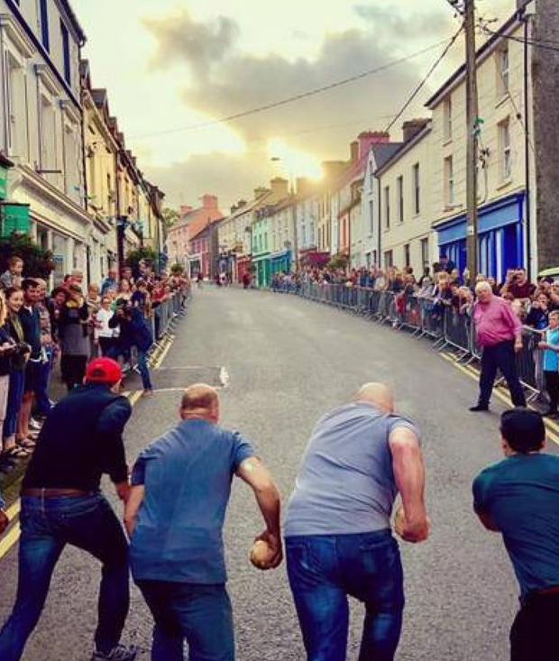 Get set, throw: Contestants line up for the annual turnip race in Ballydehob