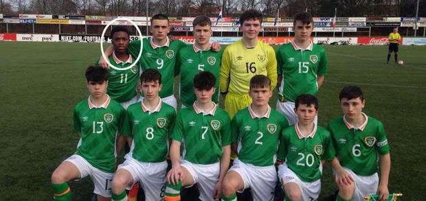 Ayodeji Sotona (circled) pictured alongside Troy Parrott for the Ireland Under-15s in 2017
